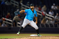 Miami Marlins pitcher Gio Gonzalez (47) delivers a pitch during a Major League Spring Training game against the Washington Nationals on March 20, 2021 at the FITTEAM Ballpark of the Palm Beaches in Palm Beach, Florida.  (Mike Janes/Four Seam Images)