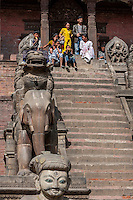 Bhaktapur, Nepal.  Guardians Line the Stairs leading to the Nyatapola Temple: Jayamel, Elephant, Lion, Griffin, and the Goddesses Baghini and Singhini.