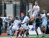 WASHINGTON, DC - FEBRUARY 16: Dylan Pieterse #19 flips the ball to Danny Tusitala #9 of Old Glory DC from the line out during a game between Seattle Seawolves and Old Glory DC at Cardinal Stadium on February 16, 2020 in Washington, DC.