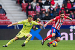 Jorge Resurreccion Merodio, Koke (R), of Atletico de Madrid fights for the ball with Mauro Wilney Arambarri Rosa of Getafe CF during the La Liga 2017-18 match between Atletico de Madrid and Getafe CF at Wanda Metropolitano on January 06 2018 in Madrid, Spain. Photo by Diego Gonzalez / Power Sport Images