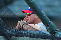 Round Rock Express coach Scott Coolbaugh during a game versus the Memphis Redbirds at Autozone Park on April 29, 2011 in Memphis, Tennessee.  Round Rock defeated Memphis by the score of 5-4 in 13 innings.  Photo By Mike Janes/Four Seam Images