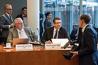 """8. Sitzung des Untersuchungsausschusses """"PKW-Maut"""" des Deutschen Bundestag am Donnerstag den 13. Februar 2020.<br /> Der Ausschuss wurde zur Aufklaerung der Mautvertraege zwischen dem Verkehrsministerium unter Leitung von Andreas Scheuer (CSU) und den Firmen Kapsch und CTS Eventim eingerichtet.<br /> Der Maut-Untersuchungsausschuss soll das Verhalten der Regierung und besonders des Verkehrsministers bei der Vorbereitung und der Vergabe der Betreibervertraege """"umfassend aufklaeren"""".<br /> Als Zeuge fuer die Sitzung war Bundesminister a.D. Dr. Peter Ramsauer (CSU) geladen.<br /> Im Bild vlnr.: Andreas Mrosek und Wolfgang Thiele, Mitglieder der Bundestagsfraktion der rechtsextremen """"Alternative fuer Deutschland"""", AfD, und ein Mitarbeiter der AfD-Fraktion (mit Kamera).<br /> 13.2.2020, Berlin<br /> Copyright: Christian-Ditsch.de<br /> [NUR FUER REDAKTIONELLE ZWECKE! Werbung nur auf Anfrage beim Fotografen. Inhaltsveraendernde Manipulation des Fotos nur nach ausdruecklicher Genehmigung des Fotografen. Vereinbarungen ueber Abtretung von Persoenlichkeitsrechten/Model Release der abgebildeten Person/Personen liegen nicht vor. NO MODEL RELEASE! Don't publish without copyright Christian-Ditsch.de, Veroeffentlichung nur mit Fotografennennung, sowie gegen Honorar, MwSt. und Beleg. Konto: I N G - D i B a, IBAN DE58500105175400192269, BIC INGDDEFFXXX, Kontakt: post@christian-ditsch.de<br /> Bei der Bearbeitung der Dateiinformationen darf die Urheberkennzeichnung in den EXIF- und  IPTC-Daten nicht entfernt werden, diese sind in digitalen Medien nach §95c UrhG rechtlich geschuetzt. Der Urhebervermerk wird gemaess §13 UrhG verlangt.]"""