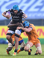 1st May 2021; Recreation Ground, Bath, Somerset, England; European Challenge Cup Rugby, Bath versus Montpellier; Yacouba Camara and Nicolaas Janse van Rensburg of Montpellier tackle Zach Mercer of Bath