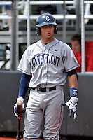 Connecticut Huskies infielder L.J. Mazzilli (24) during game against Rutgers Scarlet Knights at Bainton Field in Piscataway, New Jersey;  May 01, 2011.  Connecticut defeated Rutgers 6-2.  Photo By Tomasso DeRosa/Four Seam Images