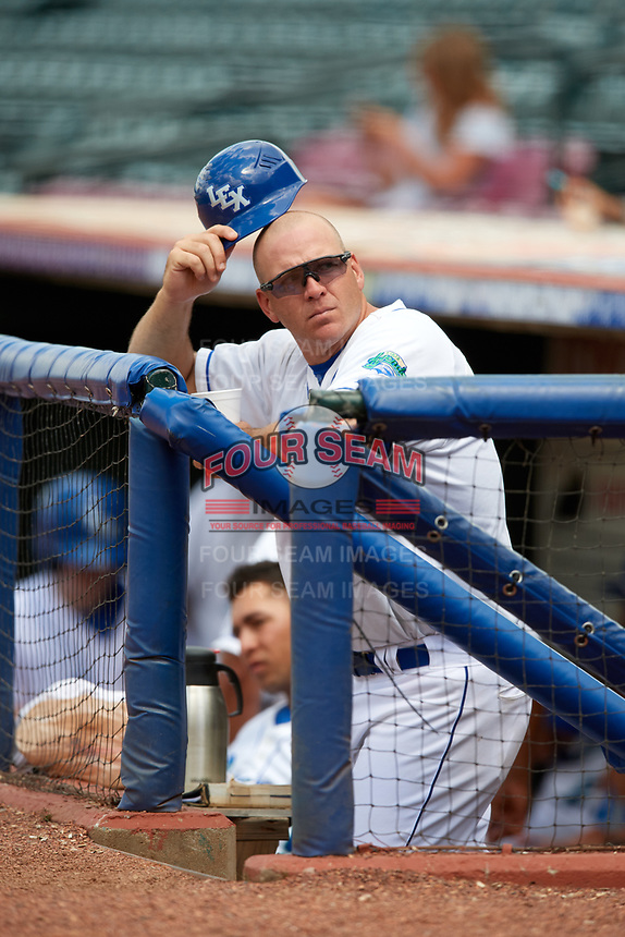 Lexington Legends manager Scott Thorman (35) in the dugout during a game against the Rome Braves on May 23, 2018 at Whitaker Bank Ballpark in Lexington, Kentucky.  Rome defeated Lexington 4-1.  (Mike Janes/Four Seam Images)