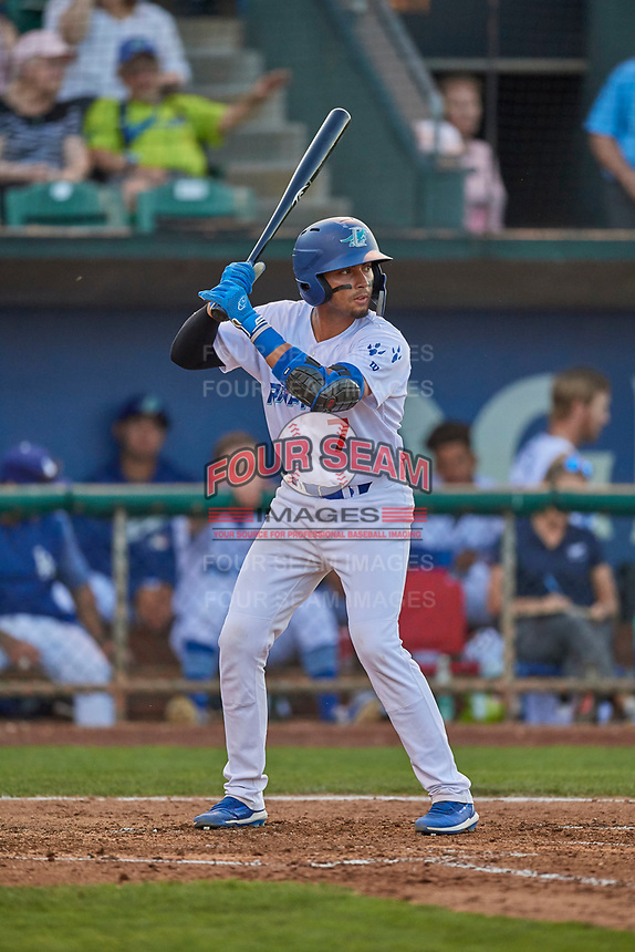 Ramon Rodriguez (7) of the Ogden Raptors at bat against the Grand Junction Rockies at Lindquist Field on August 28, 2019 in Ogden, Utah. The Rockies defeated the Raptors 8-5. (Stephen Smith/Four Seam Images)