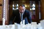 © Joel Goodman - 07973 332324 - all rights reserved . No onward sale/supply/syndication permitted . 28/07/2016 . Manchester , UK . RYAN GIGGS looks at a proposed model of the site . Launch of the St Michael's city centre development , at the Lord Mayor's Parlour in Manchester Town Hall . Backed by The Jackson's Row Development Partnership (comprising Gary Neville , Ryan Giggs and Brendan Flood ) along with Manchester City Council , Rowsley Ltd and Beijing Construction and Engineering Group International , the Jackson's Row area of the city centre will be redeveloped with a design proposed by Make Architects . Photo credit : Joel Goodman