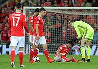 Wayne Hennesey of Wales (R) assists team mate Joe Allen who sits on the ground with a suspected head injury during the FIFA World Cup Qualifier Group D match between Wales and Republic of Ireland at The Cardiff City Stadium, Wales, UK. Monday 09 October 2017