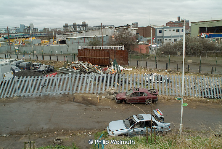 Dumped cars and derelict land on Marshgate Road, which passes through the proposed site of the 2012 Olympic Games in Stratford, London.
