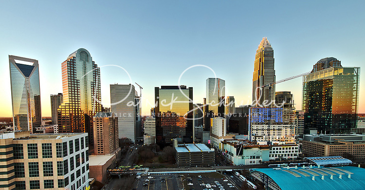 Charlotte Skyline Photography -  <br /> <br /> Dinners visiting Fahrenheit Restaurant Charlotte, get to enjoy taking in the beautiful views from the 21st floor of uptown Charlotte North Carolina from the rooftop restaurant. <br /> <br /> Charlotte Photographer - PatrickSchneiderPhoto.com