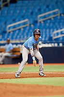 Roberto Alvarez (17) leads off first base during the Tampa Bay Rays Instructional League Intrasquad World Series game on October 3, 2018 at the Tropicana Field in St. Petersburg, Florida.  (Mike Janes/Four Seam Images)