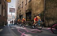Alejandro Valverde (ESP/Movistar) at the base of the Höll Climb<br /> <br /> MEN ELITE ROAD RACE<br /> Kufstein to Innsbruck: 258.5 km<br /> <br /> UCI 2018 Road World Championships<br /> Innsbruck - Tirol / Austria