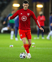 12th November 2020; Liberty Stadium, Swansea, Glamorgan, Wales; International Football Friendly; Wales versus United States of America; Kieffer Moore of Wales during the warm up