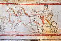 Lucanian fresco tomb painting of a man on a chariot. Paestrum, Andriuolo. Tomb n. 53 ( 350-330 BC )