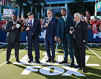 MIAMI, FL - FEBRUARY 2: (L-R) FOX NFL SUNDAY Host Curt Menefee, FOX NFL SUNDAY Co-Host & THURSDAY NIGHT FOOTBALL Pregame Analyst Terry Bradshaw, FOX NFL SUNDAY & THURSDAY NIGHT FOOTBALL Pregame Analysts Howie Long and Michael Strahan, and FOX NFL SUNDAY Analyst Jimmy Johnson at the Fox Sports broadcast of Super Bowl LIV at Hard Rock Stadium on February 2, 2020 in Miami, Florida. (Photo by Frank Micelotta/Fox Sports/PictureGroup)