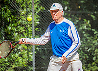 Hilversum, The Netherlands,  August 18, 2020,  Tulip Tennis Center, NKS, National Senior Championships, Men's single 85+ , Piet Borst (NED) <br /> Photo: www.tennisimages.com/Henk Koster