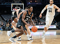 WASHINGTON, DC - JANUARY 28: Kamar Baldwin #3 of Butler powers his way forward during a game between Butler and Georgetown at Capital One Arena on January 28, 2020 in Washington, DC.