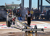 Sept. 21, 2013; Ennis, TX, USA: Crew members for NHRA top fuel dragster driver Brittany Force during the Fall Nationals at the Texas Motorplex. Mandatory Credit: Mark J. Rebilas-