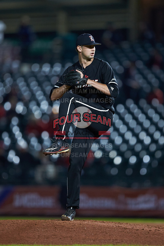 Louisville Cardinals relief pitcher Shay Smiddy (5) in action against the Notre Dame Fighting Irish in Game Eight of the 2017 ACC Baseball Championship at Louisville Slugger Field on May 25, 2017 in Louisville, Kentucky. The Cardinals defeated the Fighting Irish 10-3. (Brian Westerholt/Four Seam Images)