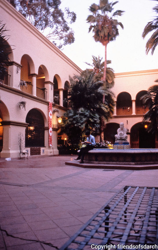 """Balboa Park: Donal Hord Sculpture, Court of Foreign Arts Building. """"Woman of Tehuantepec.""""  Fountain."""