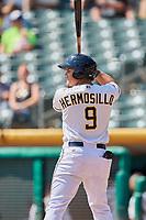 Michael Hermosillo (9) of the Salt Lake Bees bats against the Fresno Grizzlies at Smith's Ballpark on September 4, 2017 in Salt Lake City, Utah. Fresno defeated Salt Lake 9-7. (Stephen Smith/Four Seam Images)