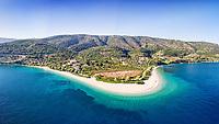 The beach Agios Dimitrios of Alonissos island from drone view, Greece