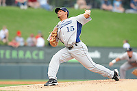 Starting pitcher Luis Cruz (15) of the Lexington Legends, a Houston Astros affiliate, in a game against the Greenville Drive on May 3, 2012, at Fluor Field at the West End in Greenville, South Carolina. (Tom Priddy/Four Seam Images)