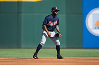 Atlanta Braves infielder Danny Santana (19) plays second base during a rehab assignment with the Gwinnett Braves during the game against the Charlotte Knights at BB&T BallPark on July 16, 2017 in Charlotte, North Carolina.  The Knights defeated the Braves 5-4.  (Brian Westerholt/Four Seam Images)