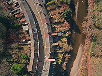 Rows of houses in the Merthyr Vale area will be demolished due to flooding caused by river Taff nearby, Merthyr Tydfil, Wales, UK. Monday 25 February 2019