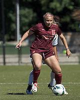 Virginia Tech forward Katie DeTuro (11) controls the ball.Virginia Tech (maroon) defeated Boston College (white), 1-0, at Newton Soccer Field, on September 22, 2013.