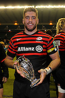 Man of the Match, Will Fraser of Saracens, celebrates after the Heineken Cup quarter final match between Saracens and Ulster Rugby at Twickenham Stadium on Saturday 6th April 2013 (Photo by Rob Munro)