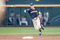 Michigan Wolverines shortstop Jack Blomgren (2) makes a throw to first base against the Vanderbilt Commodores during Game 3 of the NCAA College World Series Finals on June 26, 2019 at TD Ameritrade Park in Omaha, Nebraska. Vanderbilt defeated Michigan 8-2 to win the National Championship. (Andrew Woolley/Four Seam Images)