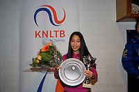 November 30, 2014, Almere, Tennis, Winter Youth Circuit, WJC,  Prizegiving, Lian Tran, winner girls 14 years<br /> Photo: Henk Koster