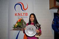 November 30, 2014, Almere, Tennis, Winter Youth Circuit, WJC,  Prizegiving, Lian Tran, winner girls 14 years<br /> Photo: Henk Koster