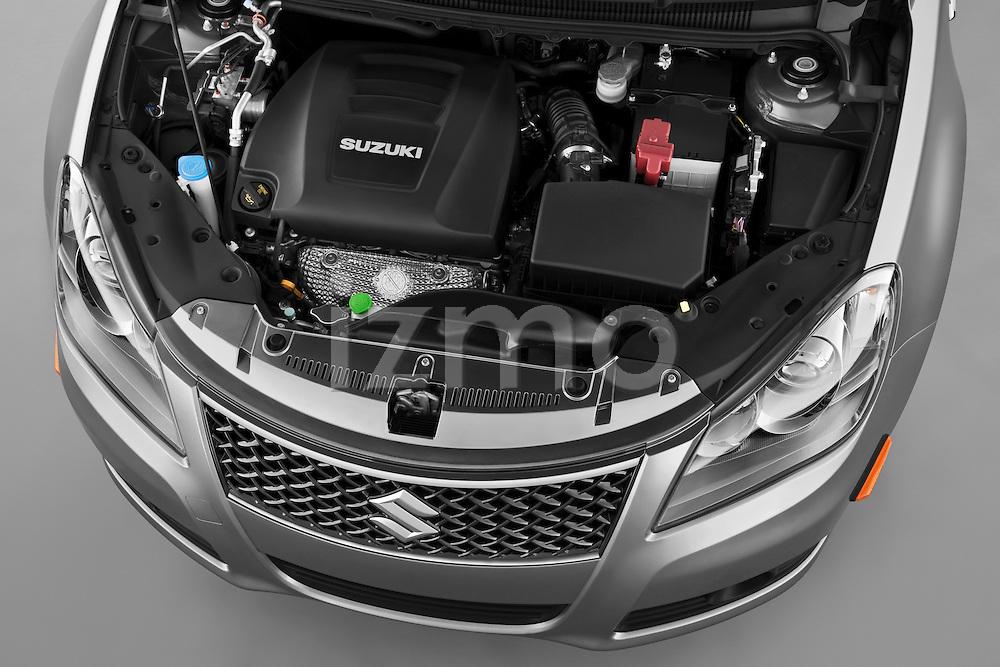 High angle engine detail of a 2010 Suzuki Kizashi SLS .