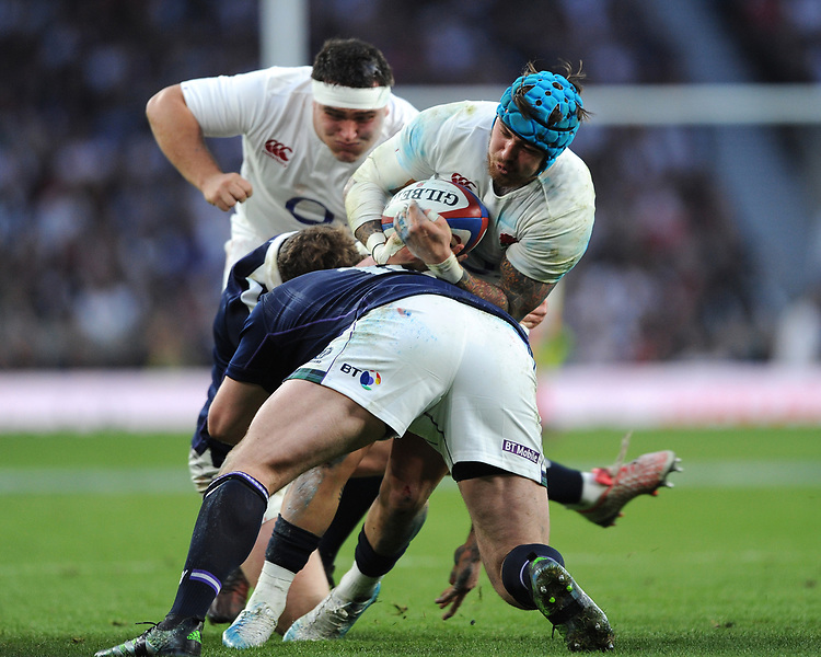 Jack Nowell of England is tackled by Simon Berghan of Scotland as Jamie George of England supports during the RBS 6 Nations match between England and Scotland at Twickenham Stadium on Saturday 11th March 2017 (Photo by Rob Munro/Stewart Communications)