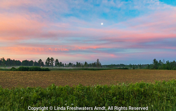 Pretty morning clouds and mist over a farm field in northern Wisconsin.