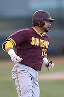 Drew Stankiewicz #17 of the Arizona State Sun Devils runs the bases during a game against the UCLA Bruins at Jackie Robinson Stadium on March 28, 2014 in Los Angeles, California. UCLA defeated Arizona State 7-3. (Larry Goren/Four Seam Images)