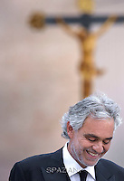 tenor Andrea Bocelli during a meeting with the Pope Francis with the Movement of Renewal in the Spirit.n St. Peter square at the Vatican,.3 July 2015