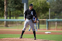 Chicago White Sox pitcher Blake Battenfield (50) looks to his catcher for the sign during an Instructional League game against the Los Angeles Dodgers on September 30, 2017 at Camelback Ranch in Glendale, Arizona. (Zachary Lucy/Four Seam Images)