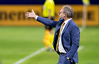 CARSON, CA - SEPTEMBER 27: Seattle Sounders manager Brian Schmetzer yells out directions during a game between Seattle Sounders FC and Los Angeles Galaxy at Dignity Heath Sports Park on September 27, 2020 in Carson, California.