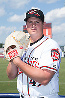 Richmond Flying Squirrels pitcher Kyle Crick (49) poses for a photo following the game against the Bowie Baysox at The Diamond on May 24, 2015 in Richmond, Virginia.  The Flying Squirrels defeated the Baysox 5-2.  (Brian Westerholt/Four Seam Images)