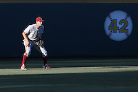 Austin Slater #13 of the Stanford Cardinal during a game against the UCLA Bruins at Jackie Robinson Stadium on May 2, 2014 in Los Angeles, California. UCLA defeated Stanford, 7-2. (Larry Goren/Four Seam Images)