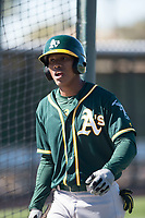 Oakland Athletics outfielder Dairon Blanco (30) during Spring Training Camp on February 24, 2018 at Lew Wolff Training Complex in Mesa, Arizona. (Zachary Lucy/Four Seam Images)