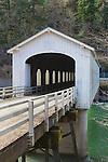 Goodpasture  Covered Bridge, Circa 1938, over the McKenzie River nearthe town of Vida in Lane County,Oregon.