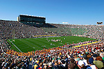 The University of Notre Dame stadium in South Bend, Indiana is full to capacity during its annual Fall football game against the Trojans of USC. This game took place on October 18, 2003. USC won with a score of 14-45.