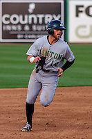 Clinton LumberKings infielder Logan Taylor (14) rounds the bases during a Midwest League game against the Wisconsin Timber Rattlers on May 9th, 2016 at Fox Cities Stadium in Appleton, Wisconsin.  Clinton defeated Wisconsin 6-3. (Brad Krause/Four Seam Images)