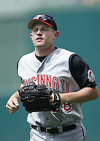 Austin Kearns of the Cincinnati Reds during a 2002 MLB season game against the Los Angeles Angels at Angel Stadium, in Anaheim, California. (Larry Goren/Four Seam Images)