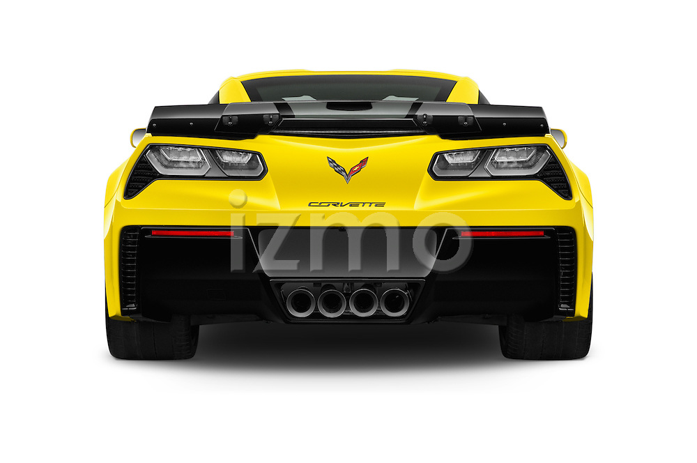 Straight rear view of 2018 Chevrolet Corvette Z06-Coupe-1LZ 3 Door Targa Rear View  stock images