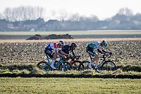 Mathieu Van der Poel (NED/Alpecin-Fenix) & Jhonatan Narváez (ECU/INEOS Grenadiers) joining the early breakaway group <br /> <br /> 73rd Kuurne - Brussels - Kuurne 2021<br /> ME (1.Pro)<br /> 1 day race from Kuurne to Kuurne (BEL/197km)<br /> <br /> ©kramon